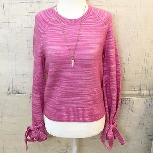 J. Crew Pink Alpaca Blend Tie Sleeve Sweater